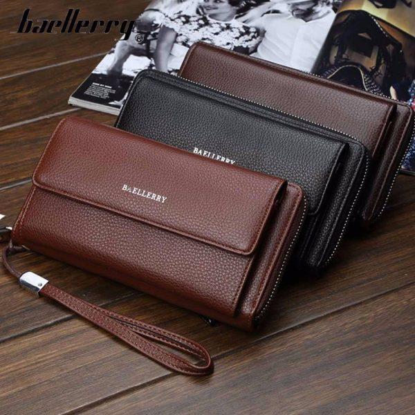 Baellerry PU Leather Men Clutch Wallets Zipper Large Capacity Hand Strap Men Wallet Luxurious Business