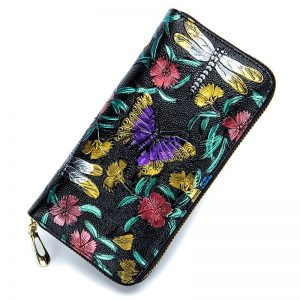 RFid Female Wallet Genuine Leather Women Flowers Purses Butterfly Card Holder Coin Zipper Print Colorful