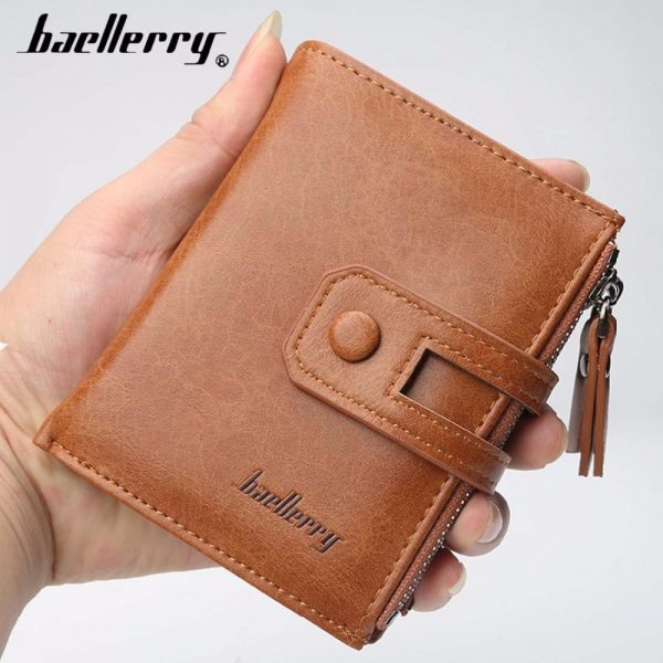 Baellerry Men Wallets Leather Double Zipper Card Holder Short Male Purse Coin Pocket Vintage Brand