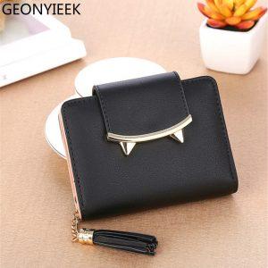 Cute Cat Ears Leather Vintage Tassel Women Wallet Luxury Brand Famous Short Mini Womens Wallets