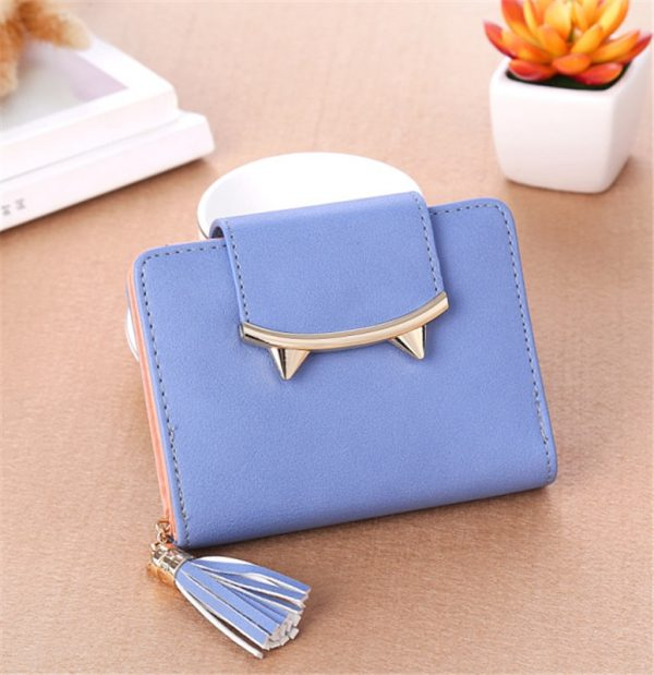 Cute Cat Ears Leather Vintage Tassel Women Wallet Luxury Brand Famous Short Mini Womens Wallets