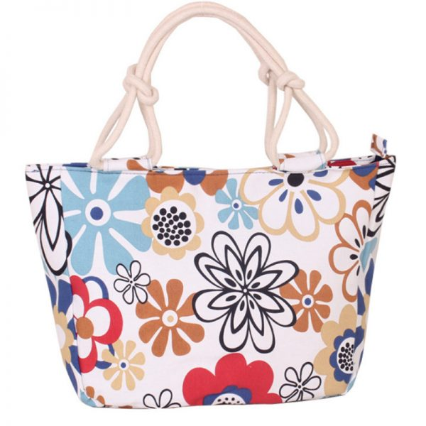 Fashion Folding Women Big Size Handbag Tote Ladies Casual Flower Printing Canvas Graffiti Shoulder Bag