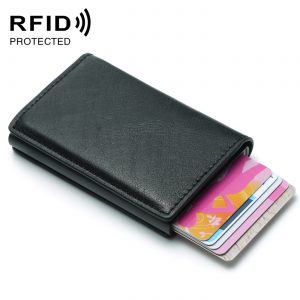 Fashion Men s Credit Card Holder Anti RFID Blocking Leather Small Wallet ID Card Case