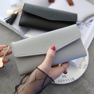 Fashion Wallet Women Tassel Heart Simple Zipper Purses Long Purse Section Clutch Wallet Soft PU