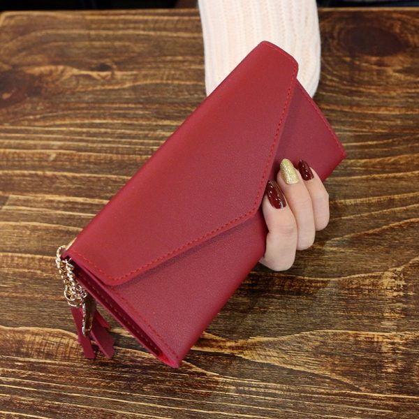 Fashion Womens Wallets Simple Zipper Purses Black White Gray Red Long Section Clutch Wallet Soft