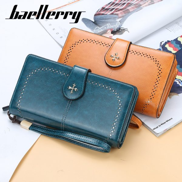Hollow Out Women Wallets Large Long Wallet Fashion Top Quality PU Leather Card Holder Female
