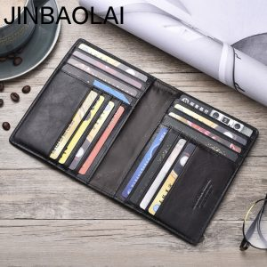 JINBAOLAI Men Wallets Slim  Genuine Cow Leather Card Wallet Thin Vintage High Quality Card