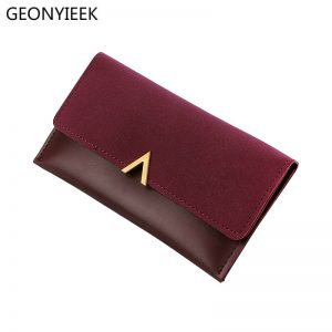 Leather Women Wallets Hasp Lady Moneybags Zipper Coin Purse Woman Envelope Wallet Money Cards ID