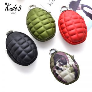 Multifunctional Grenade Shaped Car Keys Wallets PU Leather Hand Zipper Coin Purse Pouch Bag Keychain