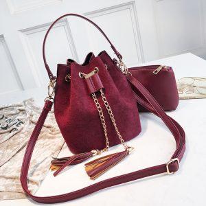 New Mini Crossbody Handbags Cute Suede Bucket Bag Organizer Small Tassel PU Leather Womens Shoulder