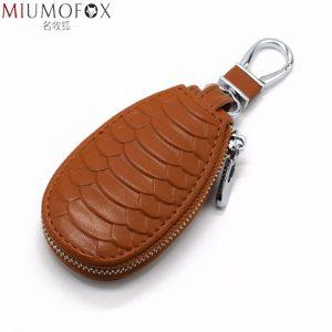 New Unisex Genuine Leather Car Key Holders Housekeeper for Men Fashion Snake Pattern Home Keychain