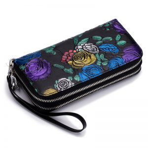 RFid Women s Wallet Female Long Floral Genuine Leather Double Zippers Phone Purses Hand Belt
