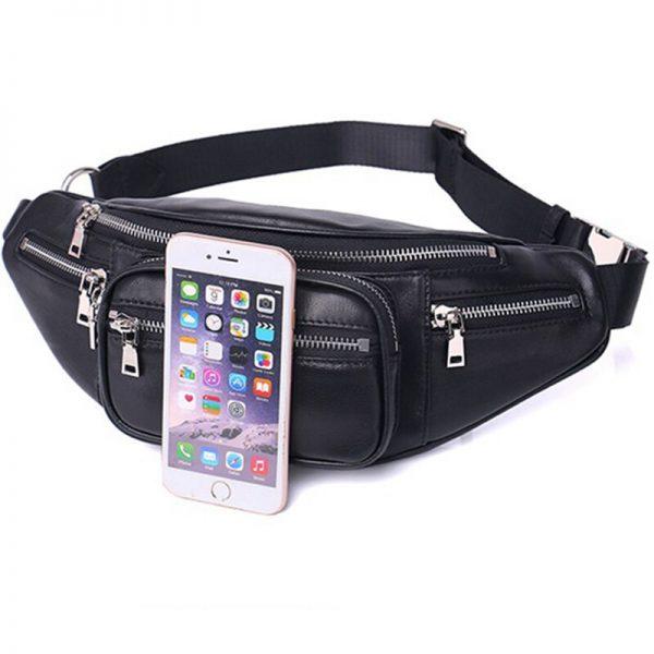 Solid PU leather handbag Women chest Pack Punk Bag Shoulder Bag Women s Belt Waist