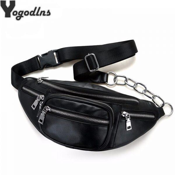 Solid PU leaHigh Quality PU Leather handbag Women chest Pack Punk Bag Shoulder Bag Women s Belt Waist