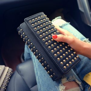 Summer new rivets fashion twists and turns wallet big wild PU leather coin long wallet