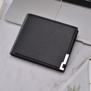 Ultra thin Short Sequined Men Wallets with Coin Bag Black Purse Men Wallet Male Small