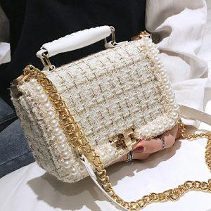 Winter Fashion New Female Square Tote bag Quality Woolen Pearl Women s Designer Handbag Ladies