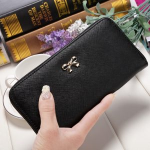 Women Long Clutch Wallets Female Fashion PU Leather Bowknot Coin Bag Phone Purses Famous Designer