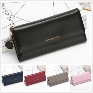 chain leather trifold Multi credit card phone holder wallet for women ladies elegant clutch long
