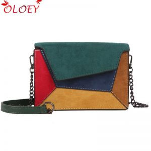 fashion quality leather Patchwork women messenger bag woman chain strap shoulder bag small crossed ladies