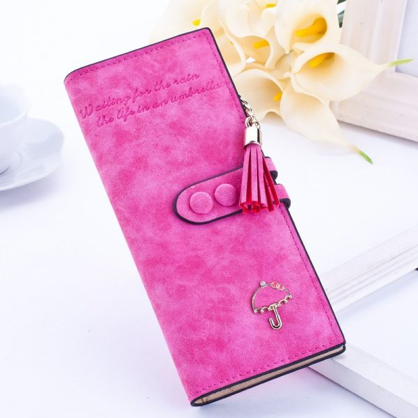 luxury brand designer long hasp women wallet clutch leather tassel zipper purse with Umbrella card