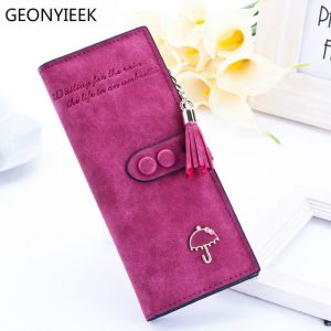 luxury brand designer long hasp women wallet clutch leather tassel zipper purse with Umbrella card