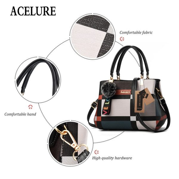 ACELURE New Casual Plaid Shoulder Bag Fashion Stitching Wild Messenger Brand Female Totes Crossbody Bags Women