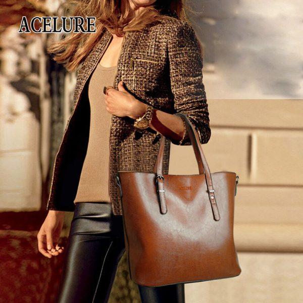 ACELURE Women Shoulder Bag Fashion Women Handbags Oil Wax Leather Large Capacity Tote Bag Casual Pu