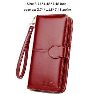 Alena Culian Hot Oil Wax Leather Women Wallet Retro Oil Skin Long Zipper Coin Bag carteira