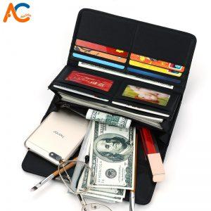 Alena Culian Luminous Geometric Pattern Long Leather Wallet For Women Brand Ladies Card Holder Clutch Wallet