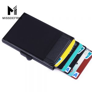 Aluminum Wallet With Back Pocket ID Card Holder RFID Blocking Mini Slim Metal Wallet Automatic Pop