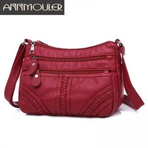 Annmouler Fashion Women Bag Pu Soft Leather Shoulder Bag Multi layer Crossbody Bag Quality Small Bag