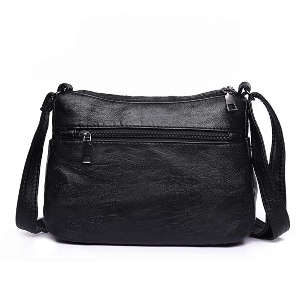 Annmouler Fashion Women Crossbody Bag Black Soft Washed Leather Shoulder Bag Patchwork Messenger Bag Small Flap