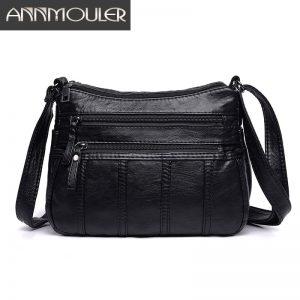Annmouler Fashion Women Crossbody Bag Black Soft Washed Leather Shoulder Bag Patchwork Messenger Bag Small Flap