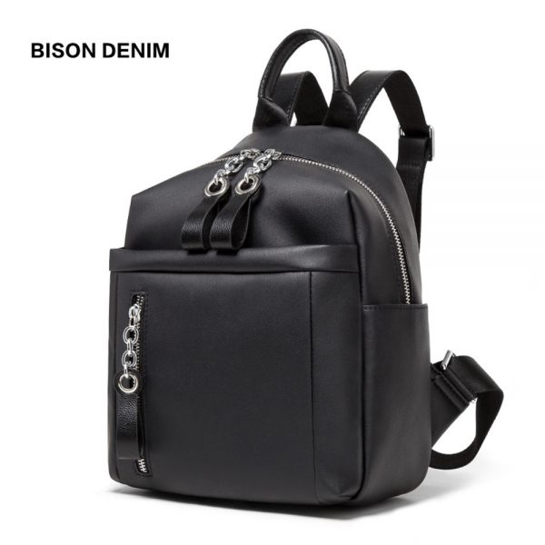 BISON DENIM Brand Backpack Women bag  New Genuine Leather Large Capacity Backpack Black Shoulder Bags