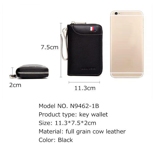BISON DENIM Genuine Leather Key Wallet Male Card Keychain Cover Zipper Card Holder Wallet Key Organizer