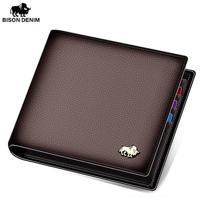 BISON DENIM Genuine Leather Men Wallets Brand Luxury RFID Bifold Wallet Zipper Coin Purse Business Card