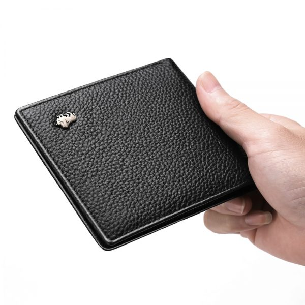 BISON DENIM Genuine Leather Men Wallets Brand Luxury RFID Bifold Wallet Zipper Coin Purse Business Card