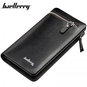 Baellerry Men Wallets Long Business Zipper PU Leather Large Capacity Phone Pocket Men Purse Multifunction Classic