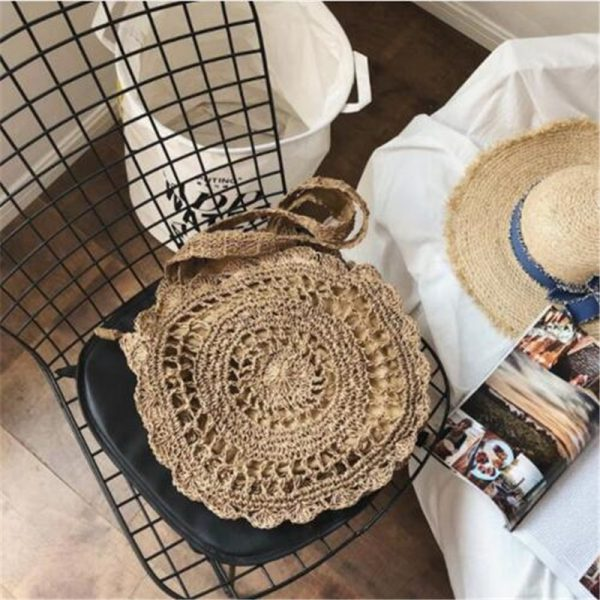 Bohemian Straw Bags for Women Circle Beach Handbags Summer Rattan Shoulder Bags Handmade Knitted Travel Big
