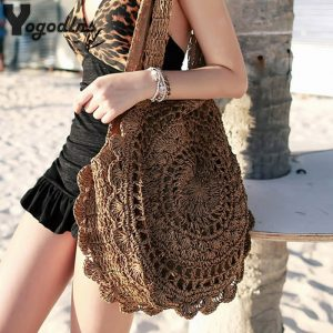 Bohemian Straw Bags for Women Circle Beach Handbags Summer Rattan Shoulder Bags Handmade Knitted Travel Big