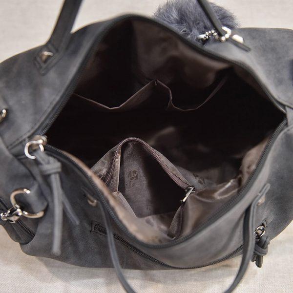 Bolish Vintage Nubuck Leather Female Top handle Bags Rivet Larger Women Bags Hair Ball Shoulder Bag