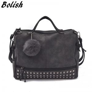 Bolish Vintage Nubuck Leather Female Top handle Bags Rivet Larger Women Bags Hair Ball Shoulder Bag