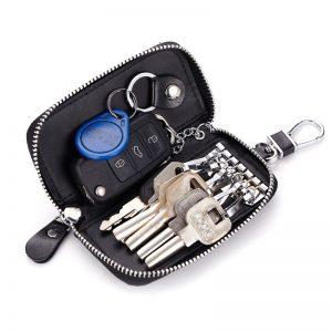 CHIZIYO Genuine Leather Car Key Holder Wallets Men Key Housekeeper Keys Organizer Women Keychain Covers Zipper