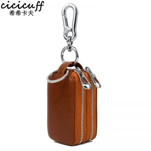 CICICUFF  New Double Zipper Car Key Wallet Man and Woman Genuine Leather Keys Organizer Pouch