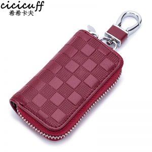 CICICUFF  New Leather Car Key Wallets Fashion Plaid Key Holder Keys Organizer Case Unisex Keychain