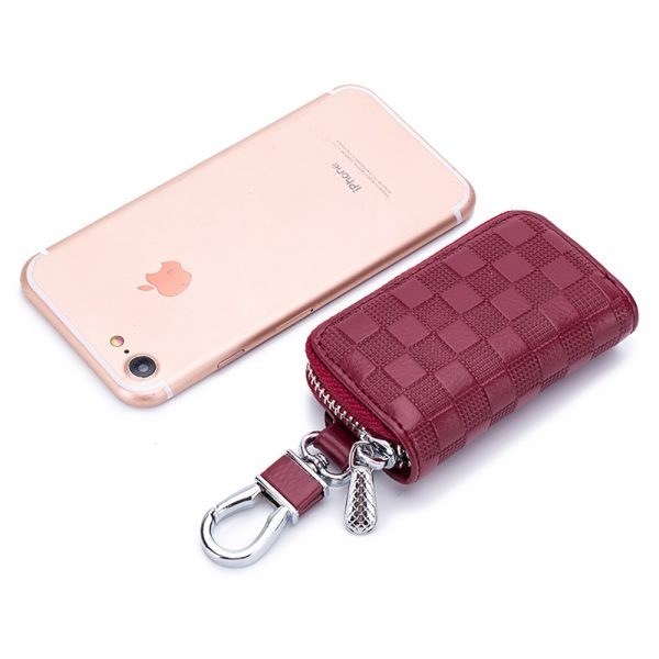 CICICUFF  New Leather Car Key Wallets Fashion Plaid Key Holder Keys Organizer Case Unisex Keychain