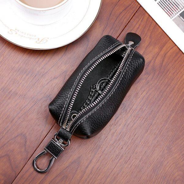 CICICUFF Genuine Leather Car Key Holder Wallet Men Vintage Housekeeper Keys Keychain Cover Women Zipper Key