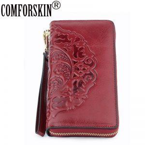 COMFORSKIN Long Vintage Tassel Ladies Wallet Premium Genuine Leather Unique Embossing Floral Women Zipper Purses With