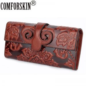 COMFORSKIN Premium Genuine Oil Waxing Leather Unique Embossed Floral Woman Purse Famous Brand Long Cover Style